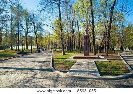 Moscow Russia - May 3 2017: Monument- bust of the Bauman - the revolutionary in a spring garden in Moscow