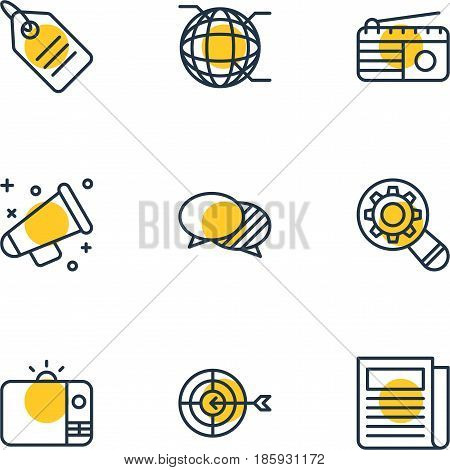 Vector Illustration Of 9 Advertising Icons. Editable Pack Of Announcement, Television, Daily Press And Other Elements.
