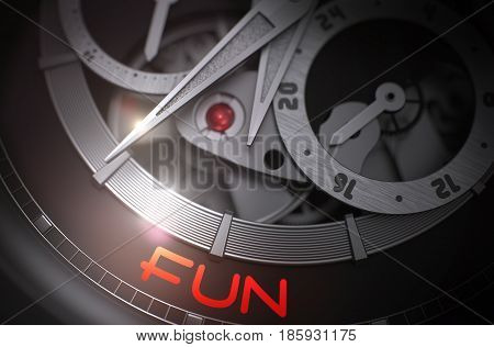 Vintage Wrist Watch with Fun on the Face, Symbol of Time. Fun - Black and White Close Up of Wristwatch Mechanism. Time and Business Concept with Glow Effect and Lens Flare. 3D Rendering.