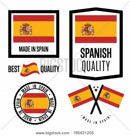 Spain quality isolated label set for goods. Exporting stamp with spanish flag, nation manufacturer certificate element, country product vector emblem. Made in Spain badge collection.