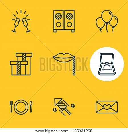 Vector Illustration Of 9 Banquet Icons. Editable Pack Of Heart Letter, Present, Carnaval Mask And Other Elements.