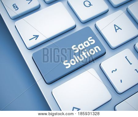 Online Service Concept: SaaS Solution on the Modern Keyboard lying on the Toned Background. Online Service Concept with Laptop Enter Button on the Keyboard: SaaS Solution. 3D.