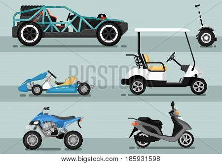 Modern auto vehicle isolated set. Off road dune buggy, golf car, motorcycle, scooter, motorbike, go kart, gyroscooter vector illustration. Outdoor people transportation and travel activity.