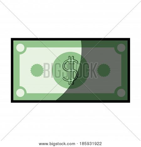colorful silhouette of dollar bill with half shadow vector illustration