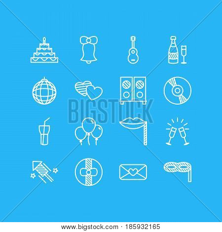 Vector Illustration Of 16 Banquet Icons. Editable Pack Of Soft Drink, Goblet, Musical Instrument And Other Elements.