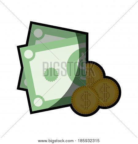 colorful silhouette of coins and folded money with half shadow vector illustration