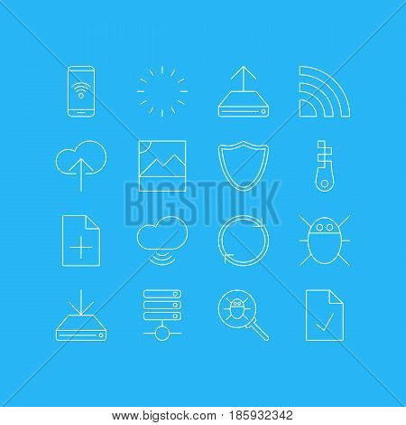 Vector Illustration Of 16 Network Icons. Editable Pack Of Cloud Download, Photo, Document Adding And Other Elements.
