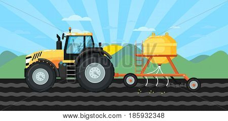 Tractor seeding crops at field in spring landscape. Rural agribusiness vector illustration with farmer working, growing and harvesting at farmland. Locally grown natural food on countryside ranch