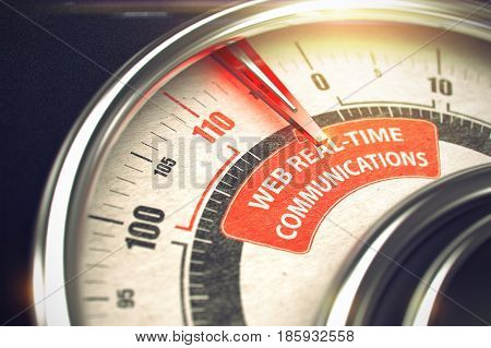 3D Render of a Rev Counter with Red Needle Pointing the Inscription Web Real-Time Communications. Business Concept. 3D Illustration.