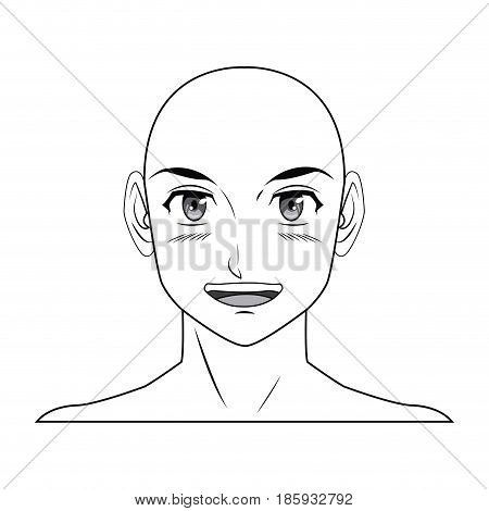 young guy. anime boy character japanese outline vector illustration