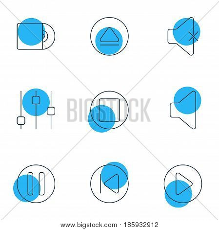 Vector Illustration Of 9 Music Icons. Editable Pack Of Compact Disk, Speaker, Preceding And Other Elements.