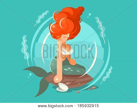Sea mermaid character. Beautiful woman with tail. Vector flat illustration