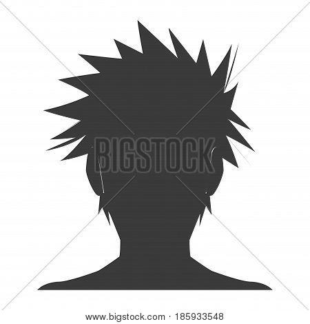 silhouette head boy anime avatar image vector illustration