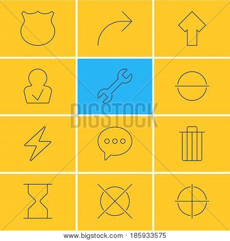Vector Illustration Of 12 Interface Icons. Editable Pack Of Garbage, Share, Positive And Other Elements.