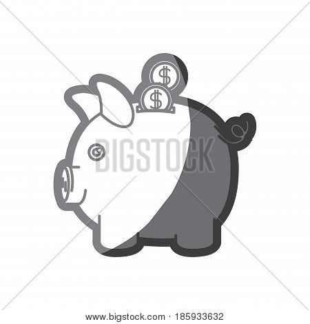 grayscale silhouette of moneybox in shape of pig with coins vector illustration