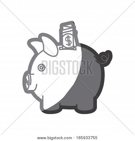 grayscale silhouette of moneybox in shape of pig with dollar bill vector illustration
