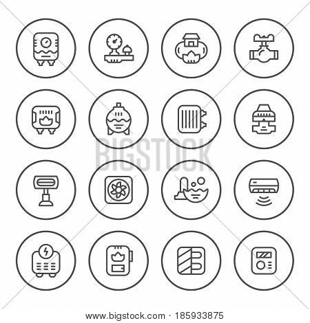 Set round line icons of heating isolated on white. Vector illustration
