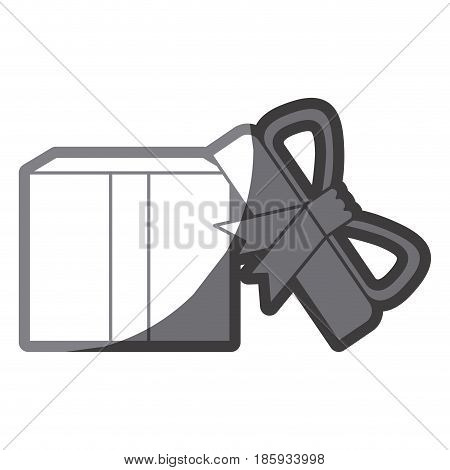 grayscale silhouette of opened gift box with decorative ribbon and topknot vector illustration
