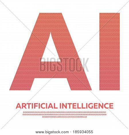 Ai Letter Artificial Intelligence With Binary Code. Vector Illustration.