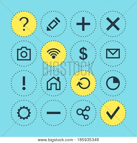 Vector Illustration Of 16 Interface Icons. Editable Pack Of Help, Letter, Mainpage And Other Elements.