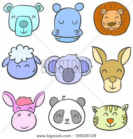 Collection stock of animal colorful doodles vector illustration