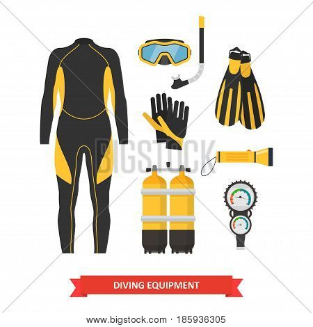 Equipment for diving in a flat style. Icons diving suit, an underwater mask, snorkel, fins and aqualung. Scuba gear and accessories. Underwater activity and sports items.