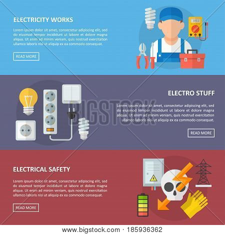 Electricity vector horizontal banner with avatar of electrician, electric equipment and tools and other electrical elements.