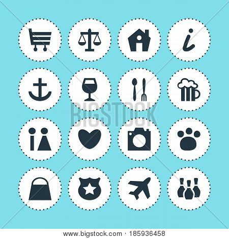 Vector Illustration Of 16 Check-In Icons. Editable Pack Of Toilet, Heart, Pet Shop And Other Elements.