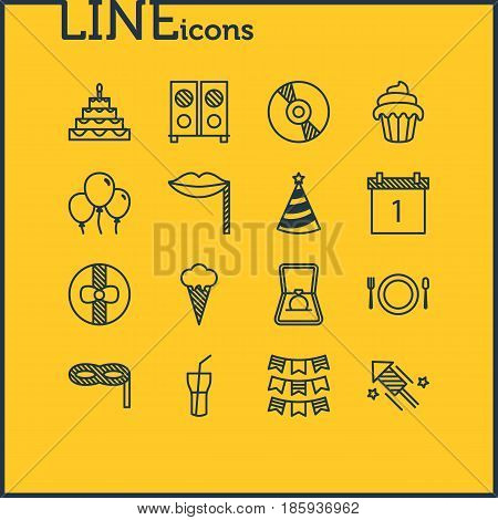 Vector Illustration Of 16 Feast Icons. Editable Pack Of Date Block, Soft Drink, Ice Cream And Other Elements.
