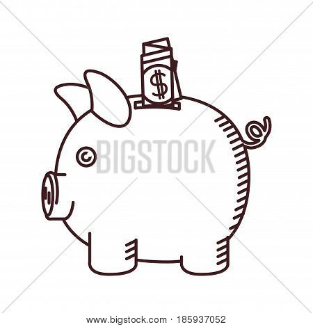 monochrome silhouette of moneybox in shape of pig with dollar bill vector illustration