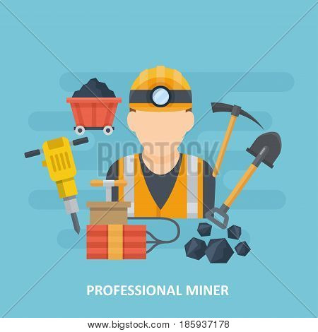 Miner avatar surrounded by mining equipment. Coal mining heavy industry icon. Vector illustration in a flat style.