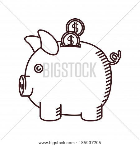 monochrome silhouette of moneybox in shape of pig with coins vector illustration