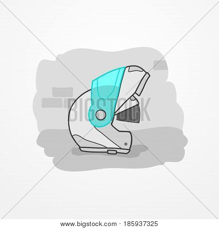 Typical motorcycle flip-up helmet with sun visor. Biker head protection in flat cartoon style. Motorbike safety gear element. Motorcycle vector stock image.