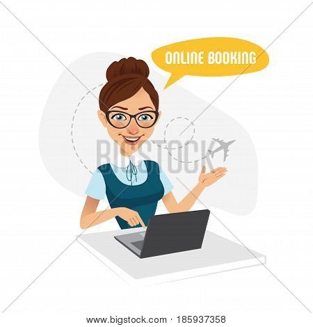 Online booking banner. Online booking service. Air Tickets Online Booking. Online Flight Booking. Woman sitting at table in office. Travel agent working for laptop.