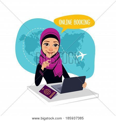 Online booking banner. Online booking service. Air Tickets Online Booking. Online Flight Booking. Arab woman sitting at table in office. Travel agent working for laptop.