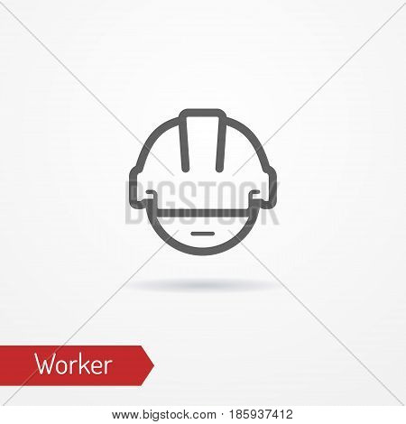 Typical simplistic worker face in professional helmet. Warehouse worker or builder head isolated icon in line style with shadow. Profession and industrial vector stock image.