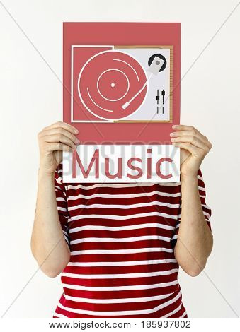 Illustration of retro music vinyl record on gramophone