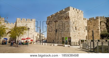 JERUSALEM, ISRAEL - OCTOBER 3: The Jerusalem Citadel near Jaffa Gate, entrance to the Old City of Jerusalem, Israel on October 3, 2016