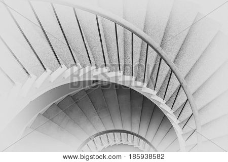 Spiral circle Staircase decoration interior - Black and white vintage Filter Processing