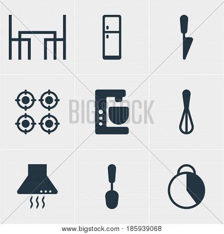 Vector Illustration Of 9 Restaurant Icons. Editable Pack Of Tablespoon, Corolla, Mixer And Other Elements.