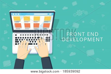 Front End Development web application website creating concept. Developer working at a laptop. Flat style and doodle icons in background top view. Vector illustration