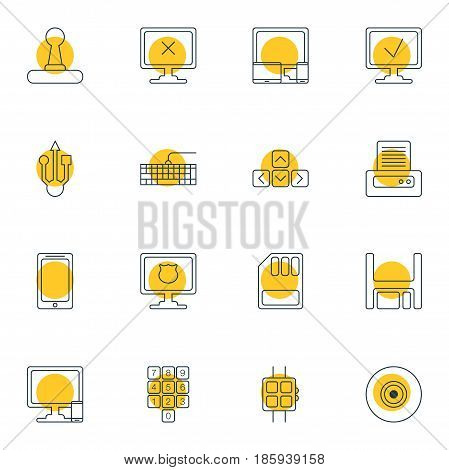 Vector Illustration Of 16 Notebook Icons. Editable Pack Of Phone Near Computer, Usb Icon, Diskette And Other Elements.