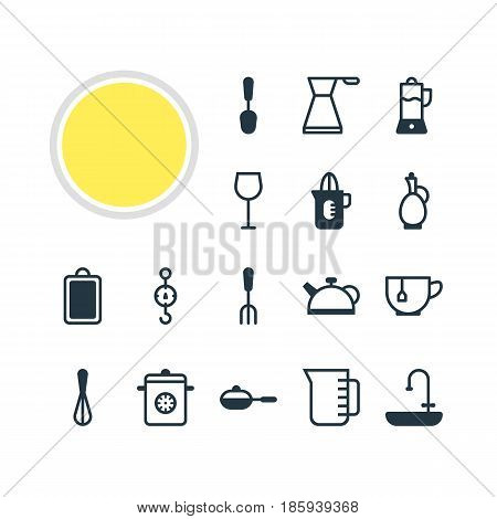 Vector Illustration Of 16 Restaurant Icons. Editable Pack Of Mug, Kettle, Fruit Squeezer And Other Elements.