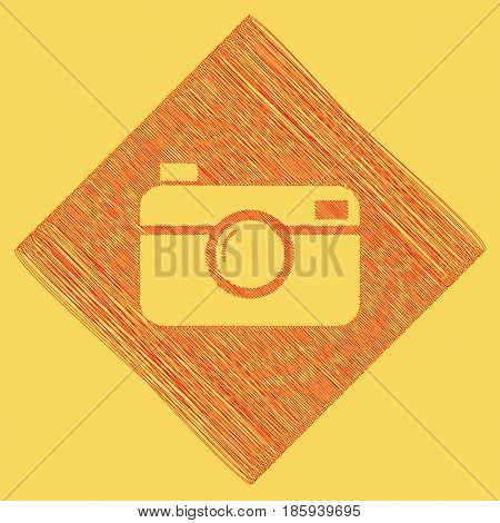 Digital photo camera sign. Vector. Red scribble icon obtained as a result of subtraction rhomb and path. Royal yellow background.