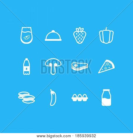 Vector Illustration Of 12 Cooking Icons. Editable Pack Of Bulgarian Vegetable, Egg Container, Cruet And Other Elements.