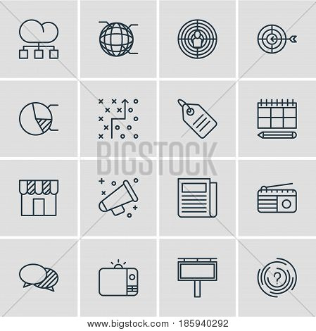 Vector Illustration Of 16 Ad Icons. Editable Pack Of Discount Label, Tactical Plan, Network And Other Elements.