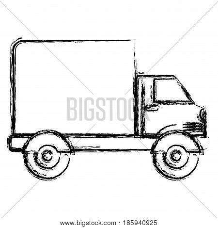 monochrome blurred silhouette of truck with wagon vector illustration