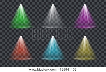 Vector Light Effect Spotlight with Transparent Background Set
