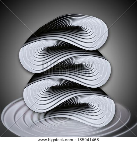 Abstract wavy object of concentric spirals. Black, white and silver rippling object resembling molten metal. 3d illustration