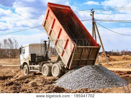Dumptruck in action on a construction site